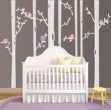 Amazon Com Nursery Birch Tree Wall Decal Set With Owl Birds Forest Vinyl Sticker Birch Tree Wall Decal Birch Tree Decal Baby Boy Whimsical Owls 7 Trees 1321 84 7ft Tall White Trees