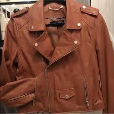 women brown leather moto jacket