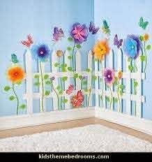 Create A Garden Room Picket Fence Garden Theme Bedrooms Garden Bedroom Kid Room Decor Paper Flowers