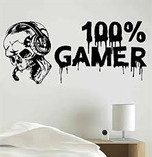 Amazon Com 100 Gamer Skull Headset Video Game Gaming Vinyl Sticker Decal Room Decor Wall Art Mural Home Decoration Bedroom Designs 18 Kitchen Dining