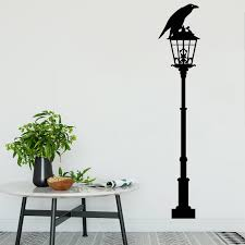 Crow Wall Stickers Black Raven Vinyl Decal Bird Lantern Home Decor Street Style Mural Removable Lamp O249 Wall Stickers Aliexpress