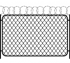 Premium Vector Chain Link Fence With Barbed Wire Black Seamless Silhouette On White