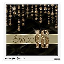 Satin Jewel Sweet Sixteen Black Gold Id260 Wall Decal Zazzle Com