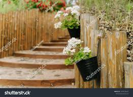 Stairs Flower Pots Hanging On Wooden Nature Stock Image 1470733673