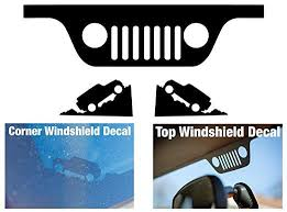 Jeep Wrangler Jk Windshield Replacement Decals Grill And Corner Black Jeep Wrangler Jk Jeep Jeep Yj