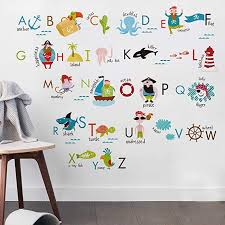 Amazon Com Kids Room Decor Pirate Alphabet Wall Decals For Kids Baby Room Removable Peel And Stick Educational Letters For Bedrooms Nursery Decor Art Decal Baby
