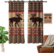 Amazon Com Dylan Simpsonm Cabin Decor Decor Collection Knitted Swatch With Deers And Snowflakes Classic Country Plaid Digital Print Kids Room Decor 55 11wx62 99l Inch Brown Tan Red Home Kitchen