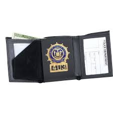 strong leather tri fold badge wallet