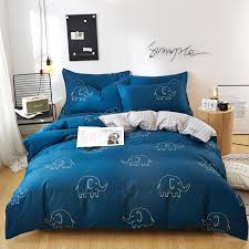 j blue grid cartoon pattern pure cotton