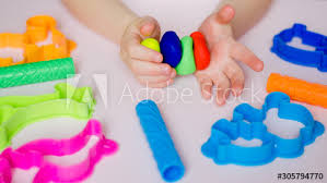 with colorful clay homemade plastiline