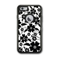 Skin Decal For Otterbox Defender Iphone 6 Plus Case Black White Flower Print 648620433596 Ebay