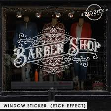 Barber Shop Typography Sign Window Film Sticker 101 Bigbite Studio