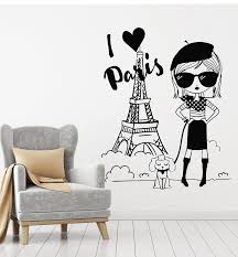 Vinyl Wall Decal I Love Paris Eiffel Tower French Fashion France Teen Wallstickers4you