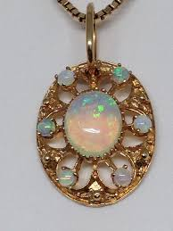 14kt black opal pendant on 10kt chain