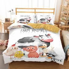 Water Color Cow Duck Farm Animal Bedroom Decor Bedding Set Kids Gift Doona Microfiber 1pc Duvet Cover With Pillowcases Dropship Aliexpress