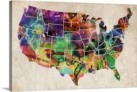 Usa Watercolor Map Wall Art Canvas Prints Framed Prints Wall Peels Great Big Canvas