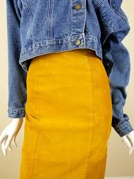 vintage yellow suede skirt mustard