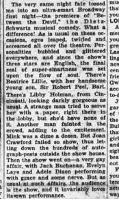 Lillie in Broadway audience Alice Hughes, 'A Woman's New York' -  Newspapers.com