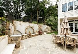 using shelve seat outdoor fireplace