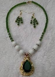 fashion beaded big green stone with