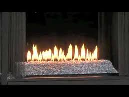 ventless gas fireplace with flame with
