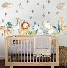 Baby Room Wall Decor Watercolor Safari Wall Stickers Baby Boy Etsy