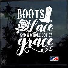 Boots Lace And Grace Window Decal Sticker Custom Sticker Shop