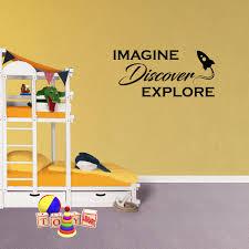 Wall Decal Quote Imagine Discover Explore Airplane Lettering Words Nursery Kids Xj81 Walmart Com Walmart Com