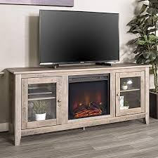 wood media tv stand console with