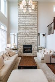 whitewash brick fireplace building with