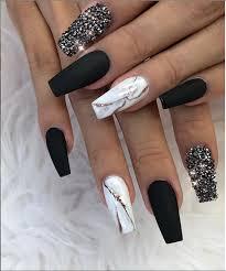 acrylic black nail art designs