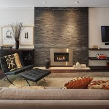 living room with a metal fireplace