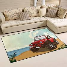 Amazon Com Summer Car Modern Area Rug Simple Carpets Living Room Non Slip Foot Pads Children S Play Crawling Floor For Children Bedroom Kids Kitchen Office Home Decor Study Room 31 X 20 In Kitchen