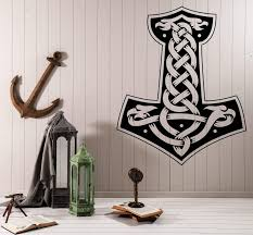 Wall Vinyl Decal Mjolnir Scandinavian Thor Hammer Vikings Interior Dec Wallstickers4you