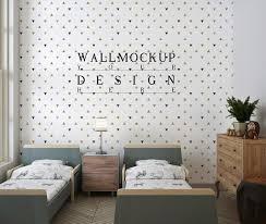 Premium Psd Mockup Wall In Modern And Cute Kids Bedroom