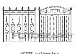 Wrought Iron Gate Door Fence Window Grill Railing Design Clipart K22090733 Fotosearch