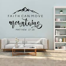 Big Sale Aa0915 Faith Can Move Mountains Bible Verse Vinyl Wall Sticker Christian Wall Decor For Home Car Laptop Art Decals Bedroom Wall Decal Cicig Co