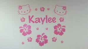 Kaylee S Hello Kitty Wall Decal From Etsy Http Www Etsy Com Listing 69400486 Hello Kitty Hibiscus Customizable Wal Wall Decals Hello Kitty Vinyl Wall Art