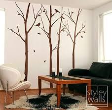 Amazon Com Winter Trees And Birds Wall Decal Forest Trees Wall Decal For Home Decor Nature Wall Decal Thin Birch Trees Wall Sticker Handmade
