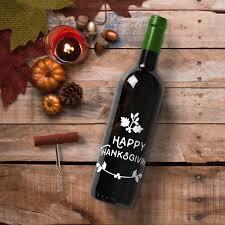 Thank You Wine Bottle Vinyl Sticker Decal Happy Thanksgiving 5 X Imprinted Designs