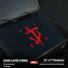 26 Doom Slayer Symbol Logo Hood Car Vinyl Sticker Decal Ebay