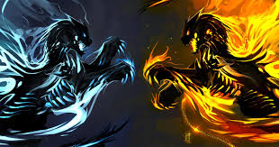 fire wolf vs ice wolf wallpapers