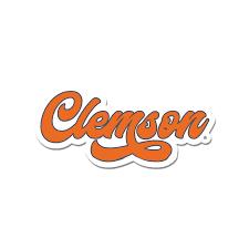 Clemson Retro Script Decal Palmetto Moon Online