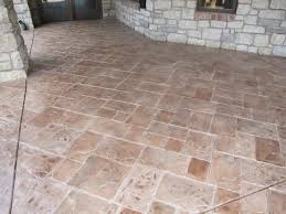 patio with stamped concrete overlay