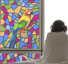 Funny Parrot Stained Glass Window Sticker Tenstickers