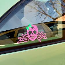Candy Skull With Bow Decal Candy Skull Decal Skull Vinyl Etsy