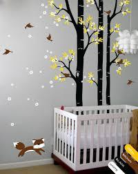 Tree Wall Decal Fox Birds Wall Decals Flower Wall Sticker Kids Floral Wall Kr059 Ebay