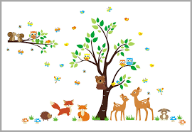 Sweet Deer And Fox Woodland Decal Nursery Room Decor Large Tree Nurserydecals4you