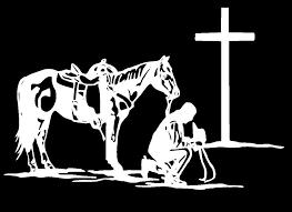 Cowboy Praying At The Cross W Horse White Vinyl Window Decal Large Vinyl Window Decals Cross Art Cowboy Cross