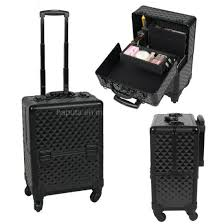 cosmetic train box trolley black plaid